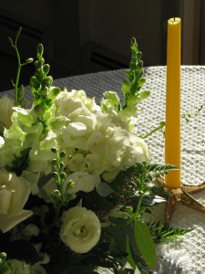 flowers and candle stick -Catherine